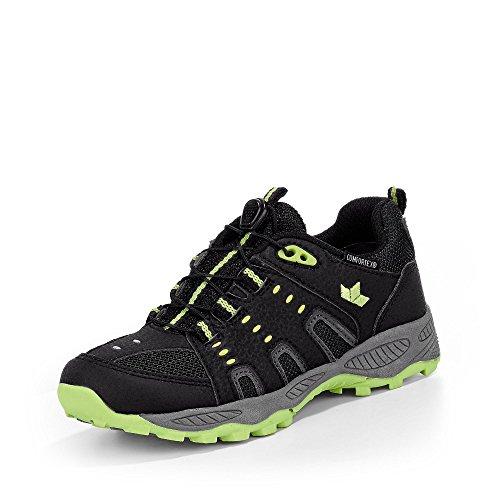 Lico - Zapatillas de senderismo de Material Sintético para niño negro/amarillo neón