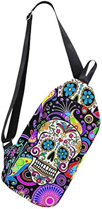 Floral Sugar Skull Sling Bag Chest Shoulder Unbalance Gym Fanny Backpack Daypack Rucksack
