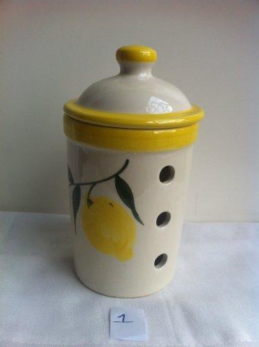 Rigas Lemon Design Garlic Keeper (1) 10X18 cm White Background With Lemon Design