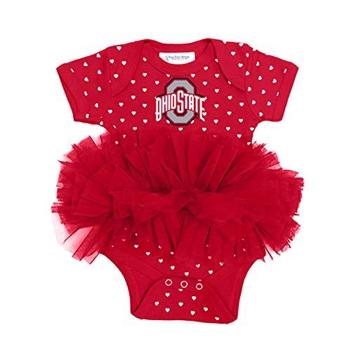 Cotton Ohio Onesie (Two Feet Ahead NCAA Ohio State Buckeyes Infant Girls Heart Tutu Creeper, Red, 6 Months)