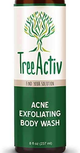 TreeActiv Acne Exfoliating Body Wash, Natural Treatment for Back, Chest, Shoulder and Butt Acne Removal, Men, Women, Teens, Sulfur, Charcoal, Castile Soap, Tea Tree Oil, Skin Care (8 fl oz)