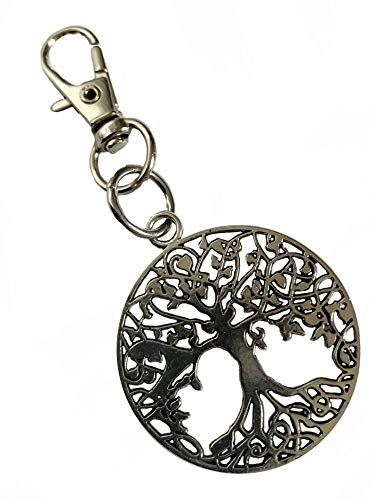 (Detailed Tree of Life Metal Keychain with Swivel Clasp)