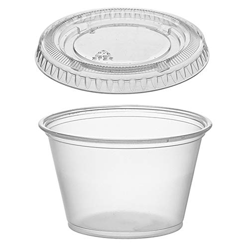 (125 Pack) 1-Ounce Plastic Portion Cups with Lids, Small Clear Plastic Condiment Cups/Sauce Cups, Disposable Souffle Cups/Jello Shot Cups byTezzorio