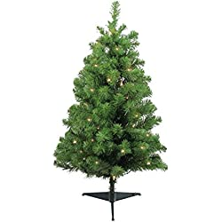 "3' x 22"" Pre-Lit Traditional Noble Fir Medium Artificial Christmas Tree - Clear Lights"