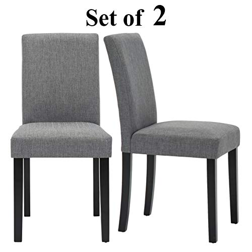 Upholstered Dining Chairs with Solid Wooden Legs, Modern Stylish Fabric Padded Parsons Chairs Set of 2 (Gray)
