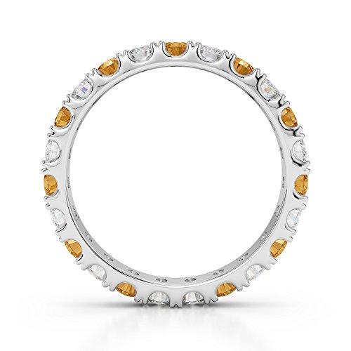G-H/VS 1/2ct Coupe ronde sertie de diamants et citrine Full Eternity Bague en platine 950Agdr-1121
