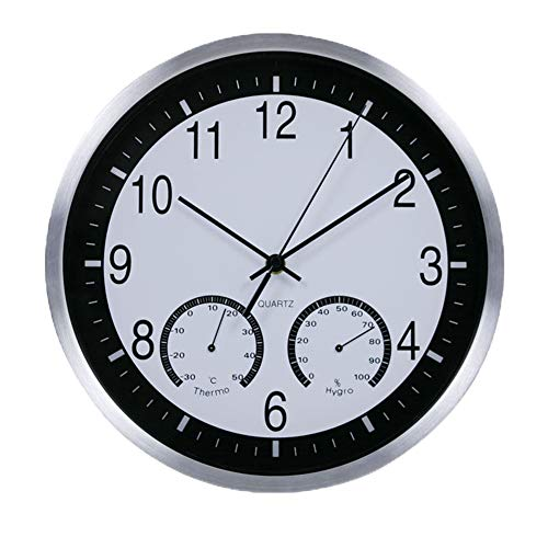 Justup Wall Clock with Temperature & Humidity, 12inch Non-Ticking Battery Operated Large Decorative Wall Clock with Metal Case HD Glass for Indoor Kitchen Living Room Bedroom Office Decor (White)