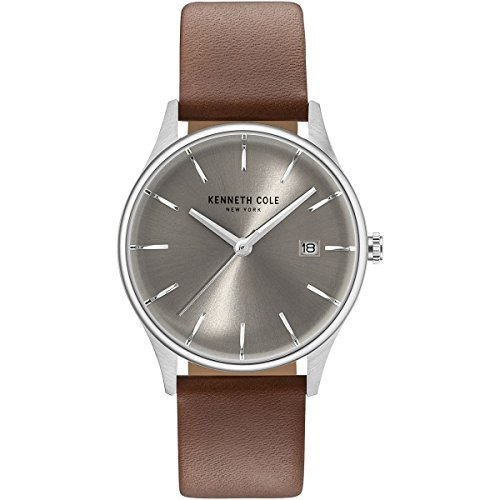 Kenneth Cole New York Women's Analog Round Watch Brown Leather Strap KC15109005