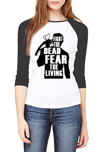 f769c7f4c6273 Topcloset Fight The Dead Fear The Living Women Baseball T-Shirt Size XL