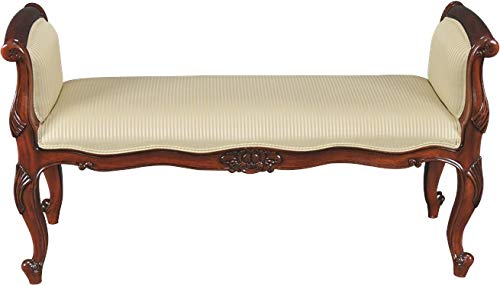 EuroLuxHome Window Bench Upholstered French Antique Style Floral Carving Scroll Arms
