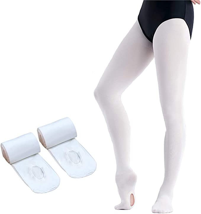 HETH Ballet Tights for Girls Toddler Ultra Soft Dance Ballet Convertible Tights With Holes Black 1 Pairs, Small