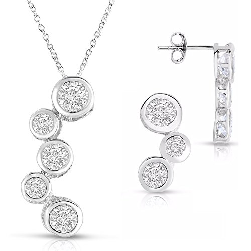(Sterling Silver 3 Stone Bubble Bezel Earrings and Matching Necklace and Pendant Set )