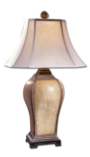 Uttermost Baron Ivory Table Lamp with Ivory Crackle Finish With A Light Burnished Wash Baron Square Table Lamp