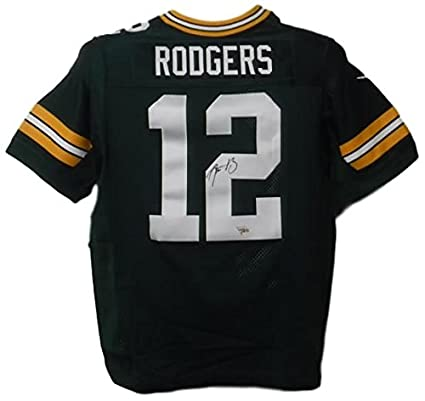 ef391fc85 Aaron Rodgers Autographed Green Bay Packers Nike Green Size 48 Jersey FAN