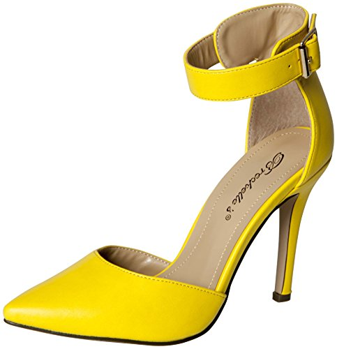 Breckelles Womens Ankle Strap Pointy Toe Heels,6 B(M) US,Yellow (Yellow Pointy Toe Pumps)