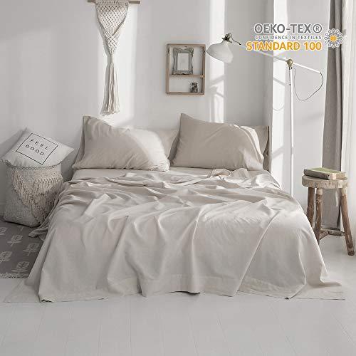 Simple&Opulence Linen Cotton Blend Sheet Set 4PCS Solid Color (Full, Linen)