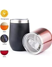 Sivaphe 12 oz Wine Tumbler,Vacuum Double Wall Insulated Stainless Steel Wine Glasses with 2 lids,Bulk Drinking Cup for Cold & Hot Drink,Wine Coffee Champagne