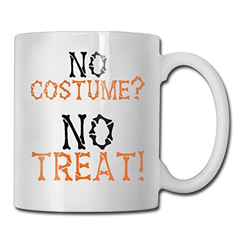 FVUSXM Personalized Coffee Cup,NO Costume NO Treat! Halloween Costume Shirt Custom DIY Ceramic White Mug 11 OZ Tea Cup -