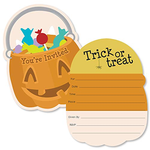 Trick or Treat - Shaped Fill-in Invitations - Halloween Party Invitation Cards with Envelopes - Set of 12]()