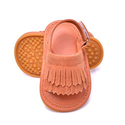 Endand Baby Girl boy Shoes Brand Crib Shoes Sandals PU Leather Soft Sole New Born Infant Toddler Summer Suede Fringe Footwear 2019,Light Brown,0-6 Months