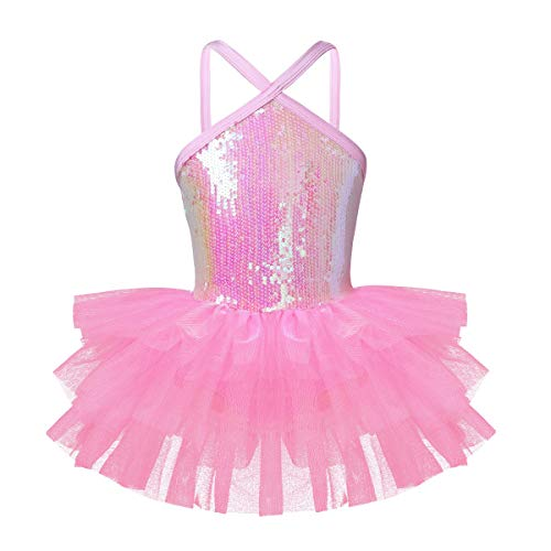 iiniim Girls Sequined Camisole Ballet Leotard Dance Tutu Dress Shiny Sparkle Fairy Party Fancy Costume Cutout Pink 5-6 -