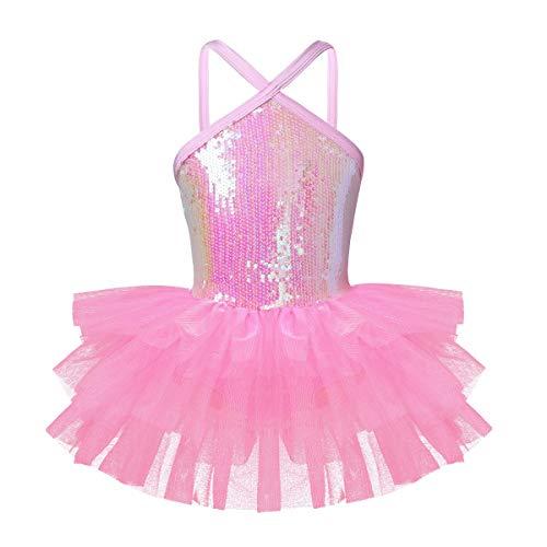 YiZYiF Kids Girl's Camisole Ballet Tutu Dress Up Leotard Dancewear Costumes (3-4, Halter Sequins Pink) -