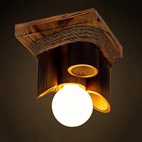 American Village Bamboo E27 lámpara de techo de madera retro ...