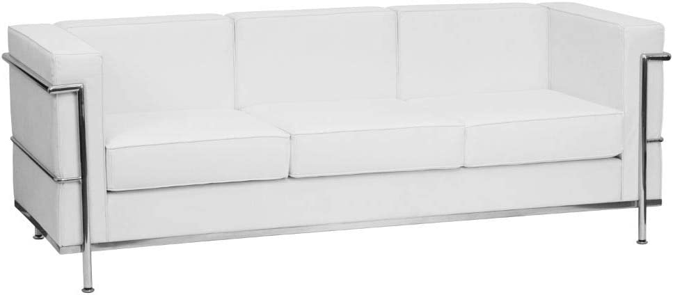 Flash Furniture HERCULES Regal Series Contemporary White LeatherSoft Sofa with Encasing Frame