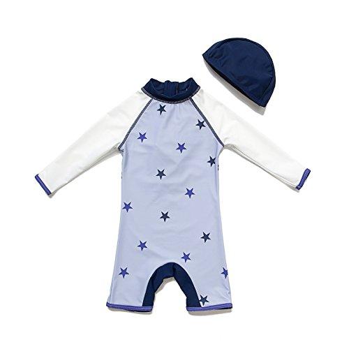 Bonverano TM Infant Boy's UPF 50+ Sun Protection L/S One Piece Zip Sun Suit(Star 4T)
