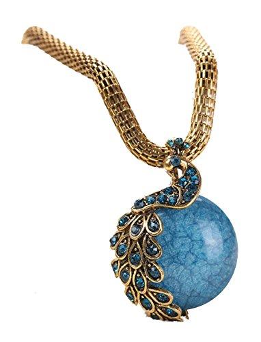 Desklets Women Retro Craft Antique Peacock Tail Single Marbles Pendant Necklace(Blue)