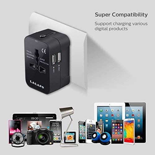 All in One International Universal Travel Adapter,Dual USB Charging Ports Converter for USA EU UK AUS European Compatible with Mobile Phone,Power Bank,Tablet,Laptop and Earphone. (Black) by LALAFO (Image #7)