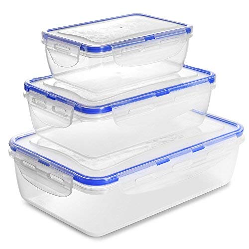Food Storage Containers with Lids-6 Piece Set(3Containers and 3Lids)[60Oz,31Oz,14Oz]Airtight Leak Proof Meal Prep Containers - BPA Free Plastic Food Containers-Freezer&Microwave&Dishwasher Safe