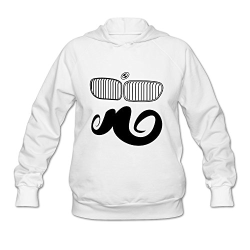 [JIALE Women's Funny BMW Moustache Lightweight Hoodie Large White] (Moustache Halloween)