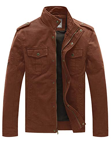 WenVen Men's Casual Cotton Military Jacket(Coffee,XL)