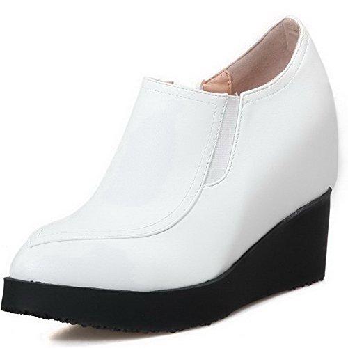 AllhqFashion Damen Reißverschluss Spitz Zehe Hoher Absatz PU Leder Rein Pumps Schuhe Weiß