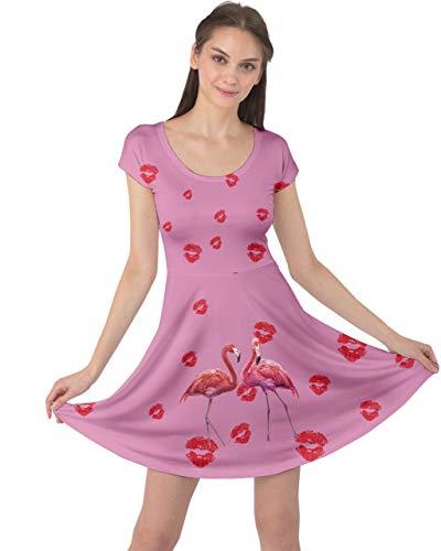 CowCow Womens Lips Love Flamingo Couple Plum Cap Sleeve Dress - 2XL ()