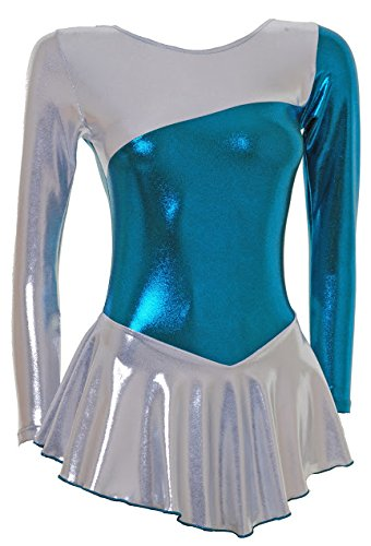 Wholesale Dance Long Sleeve Ice/Skating/Majorette Dress Shiny Siver Shine and Petrol Shine (#S094d) Multicoloured