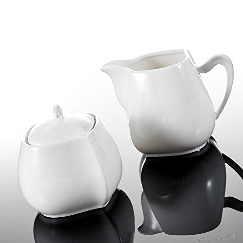 Malacasa, Serie Elvira, 3-teilig Porzellan Milch und Zucker Set mit Deckel, Milchkännchen Zuckerdose Milch- & Zuckerbehälter Keramik Küchenhelfer