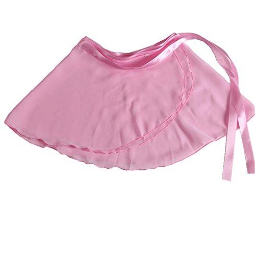 YOYODANCE Girls Ballerina Sheer Wrap Ballet Tutu Dress Chiffon Dance Skirts Dancewear (Lt Pink)