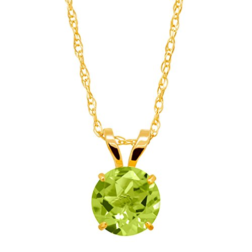 (1 ct Round-Cut Natural Peridot Solitaire Pendant Necklace in 10K Gold)