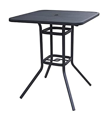Heavy Duty Steel Frame 33x33 in Square Bistro Patio Bar Restaurant Outdoor Dining Table with Umbrella Hole, 39in H - Black