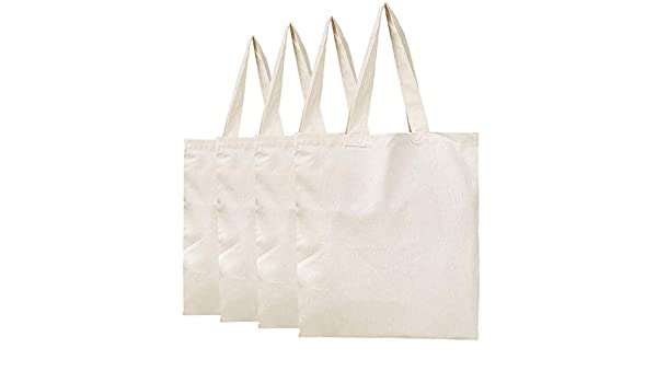 234e0a68a BagzDepot Plain Canvas Tote Bags - 100% Cotton Fabric Reusable Cloth Bags -  Set of 4 - Tote Bags for School, Tote Bags for Grocery Shopping Store, ...