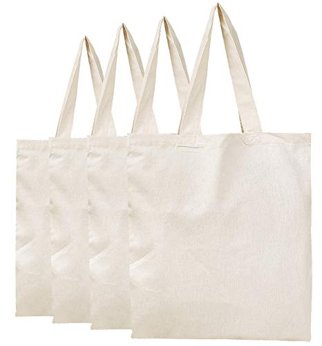 BagzDepot Plain Canvas Tote Bags - 100% Cotton Fabric Reusable Cloth Bags - Set of 4 - Tote Bags for School, Tote Bags for Grocery Shopping Store, Fun Decorating Crafts Promotional Items (Natural) ()
