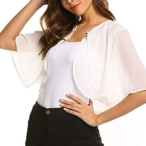 (GHrcvdhw Ladies Leisure Wind Short Sleeve Solid Color Cardigan Chiffon Shrug Cardigan Blouse White)