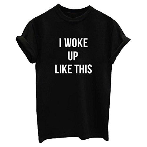 BLACKMYTH Mujer Redondo Casual T-shirt Moda Manga Corta Camisetas Para Estampar Negro