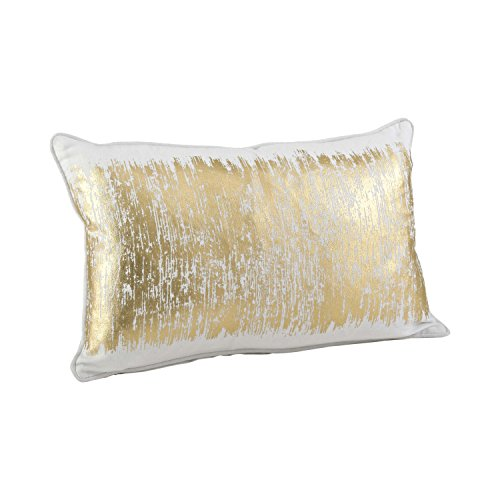 SARO LIFESTYLE Agatha Collection Metallic Banded Design Cotton Down Filled Throw Pillow-Gold,12