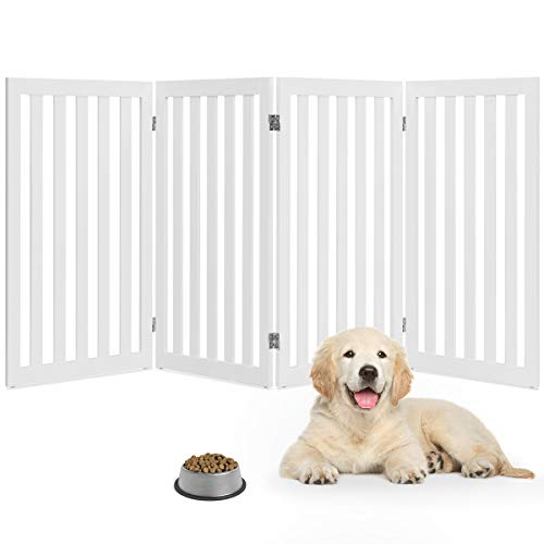 Giantex 36'' Wooden Dog Gate, Configurable Freestanding Pet Gate for Small and Large Pets, Foldable Tall Panels for House Doorway Stairs Extra Wide Pet Safety Fence (White, 80''W) (36 Freestanding Pet Gate)