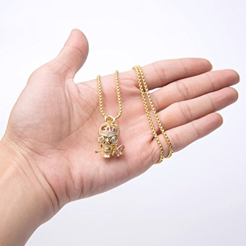 Karseer Faithful Love & Rose Skull Pendant Necklace with Crystal Brain Hidden Inside, Infinite Fantasy Gift for Men and Women (Gold) by Karseer (Image #3)
