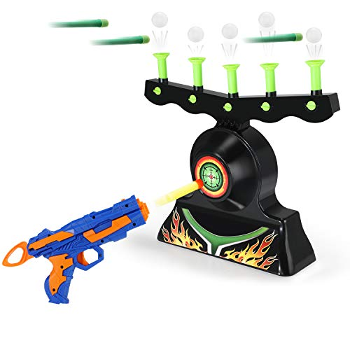 Theefun Electric Targets for Shooting, Hover Shooting Target Compatible with Nerf Targets with Blaster Gun, 10 Pcs Refill Darts, 20 Pcs Orbs for Boys or Girls (Hovering Target Shooting Game)