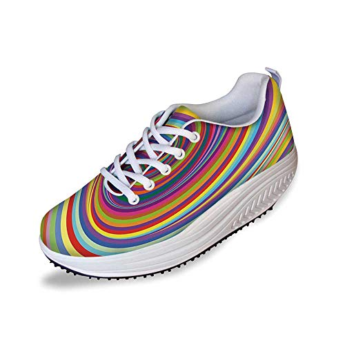 Rainbow Stylish Shake Shoes,Hypnotic Rainbow Colored Vortex Hypnotic Effect Optical Illusion Psychedelic Print Decorative for Women,11 ()